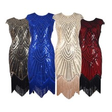 Ahkicu 2017 Vintage 1920s Sequin Fringe Charleston Dress Great Gatsby Sexy Women Evening Party Shining Bling Bling Tassel Dress