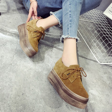 European luxury brand woman platform shoes lace up suede leather ladies shoes famous creepers 2016 autumn new flats shoes Brogue(China)