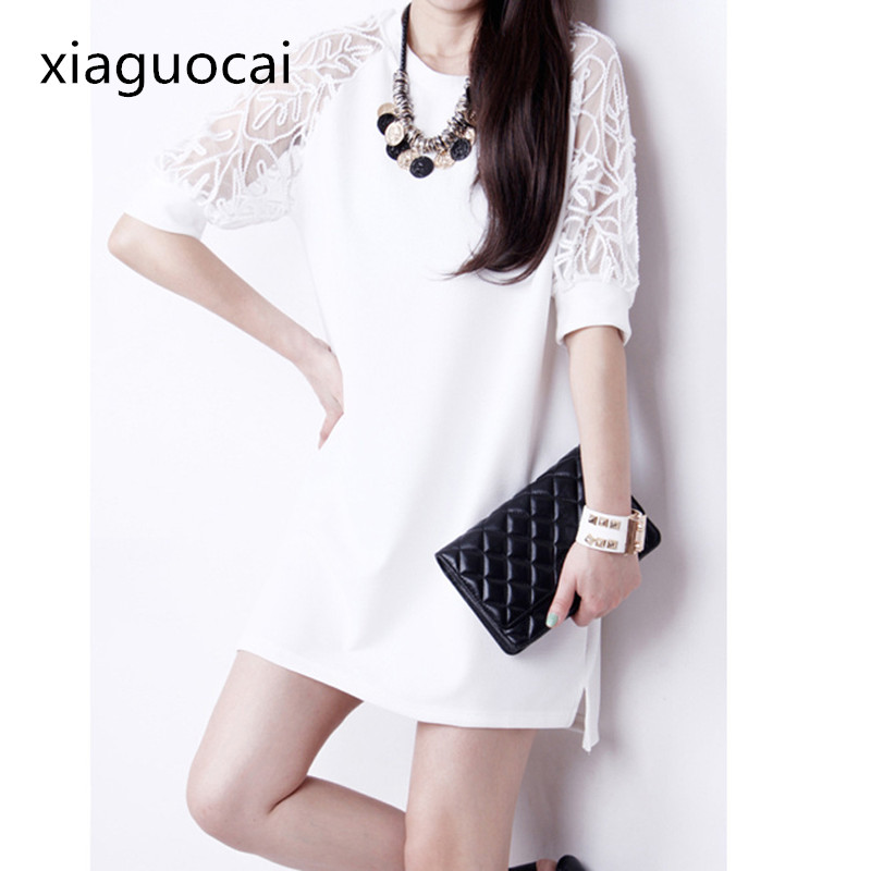 Lace Brand Name Women Office Dress Mini Hollow Out Solid Casual Female Dress Half Sleeve Clothing L251 35(China)