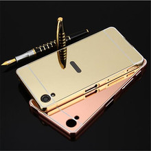 Gold Plated Metal Aluminum Bumper + Hard Plastic Mirror Back Case For Sony Xperia XA X XP Performance Hybrid Phone Cover Cases