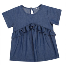 pudcoco Cute Little Girls Dark Blue Denim Dress Toddler Kids Baby Girls Casual O-Neck Dresses Sundress Clothing Summer Outfits(China)