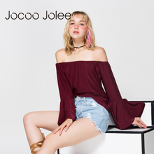 Jocoo Jolee Sexy Off Shoulder Butterfly Sleeve T-Shirt Autumn Women Long Sleeve Casual Loose Tops Tee Ladies Slash Neck Shirt(China)
