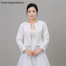 Forevergracedress 2018 Long Sleeves Faux Fur Stoles Wedding Wrap Winter Bolero Jacket Bridal Accessories Cape Cloak In Stock(China)