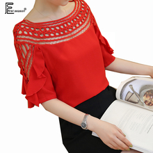 3 Colors Chiffon Blouses New Hot Sale Women Fashion Summer Half Sleeve Cute Sweet Tops Black White Red Crochet Hollow Blouse