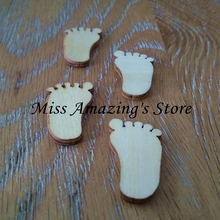 50pcs Wood Blanks Footprint Wooden Crafts Embellishments Scrapbooking Card Wood Baby Shower DIY Craft Supplies Wood Decoration(China)