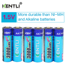 KENTLI 6pcs/pack High Capacity free shipping lithium ion batteries 3000mWh 1.5V lithium polymer battery rechargeable AA battery(China)