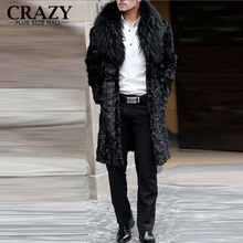 2017 New Winter Plus Size Men Large Faux Fox Fur Collar Ultra Long Fake Mink Fur Outerwear Coats Male