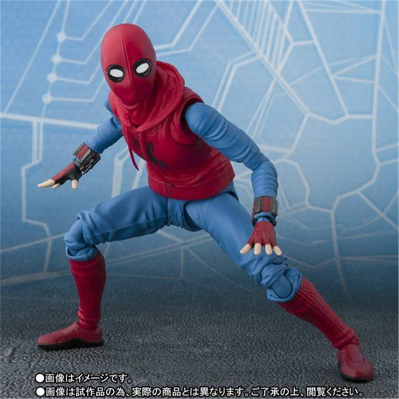 Spider Man Home Made Suit Suit Ver. PVC Action Figure Model Toys Movie Super Hero Spider-Man Figuras Dolls Cool Boy Cosplay Gift 14cm  (5)