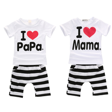 2017 Hot selling summer newborn baby boys girls clothes I Love Papa and Mama short sleeve t-shirt+pants 2pcs Infant clothing set