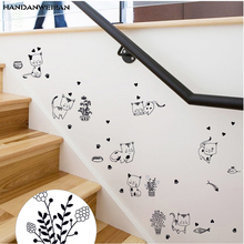 Free delivery black label bedroom living room kitchen wall sticker PVC removable cartoon Wall Sticker(China)