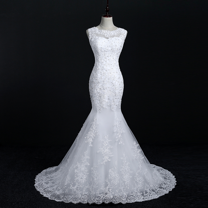 Fansmile New Arrival Lace Mermaid Wedding Dresses 2017 Plus Size Bridal Alibaba Wedding Dress Real Photo Free Shipping FSM-144M 3