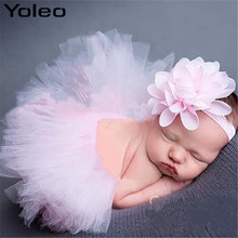 yoleo Baby Girls Tutu Skirt and Flower Headband Newborn Photography Props Princess Outfit Infant Ball Grown 0-3M Drop Shipping(China)