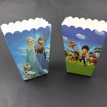 6pcs Comic cartoon paper Party Popcorn Boxes Pop Corn Candy/Sanck Favor Bags Wedding Birthday Movie Party Tableware