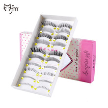 FM 10 Pair One Set Different Styles Handmade Fake Eyelashes Hand made charming Cotton Stalk Cross False Eyelashes(China)