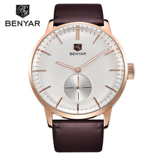 BENYAR Original Gold Watch Men Watches Top Brand Luxury Leather Business Quartz Wrist Watch Male Clock Saat Relogio Masculino(China)