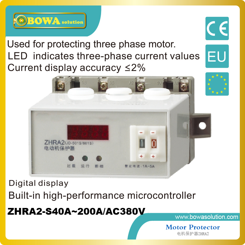 Motor Protector for protecting three phase motor applied in Water Pump ZHRA2-S40A~200A/AC380V wth digital display<br>
