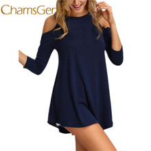 Buy Chamsgend Newly Women Summer Autumn Spring Fashion Shoulder Solid Loose Super Short Mini Sexy Dress 160926 Drop for $7.78 in AliExpress store