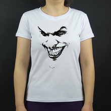 Brand new Women Retro Tshirt Batman Funny Clown Serious Joker Blood Graphic desian White T-Shirt   Shirts Fashion Girls