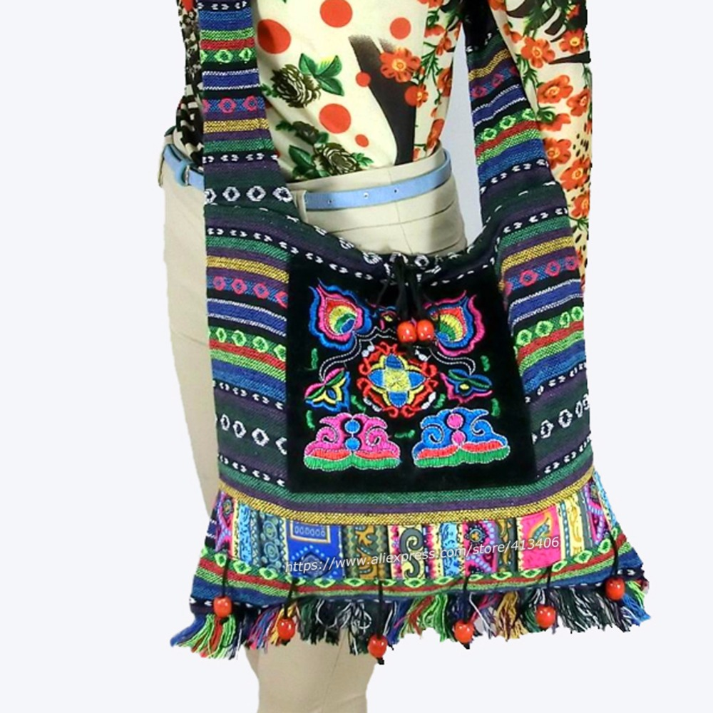 Free shipping Vintage Hmong Tribal Ethnic Thai Indian Boho shoulder bag message bag linen handmade embroidery Tapestry SYS-083F<br><br>Aliexpress