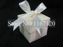 50pcs/lot New fashion Beige 2pc 5x5x5cm Paper Bomboniere Wedding Favor Boxes Candy gift boxes(WB49)(China)