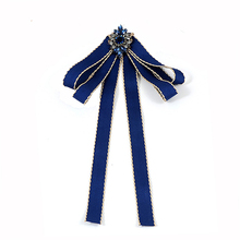 ZHINI Trendy Navy Flower Decorated Bow-knot Design Brooch Striped Ribbon Big Bowknot Collar Shirts Accessories Fashion for Gifts(China)