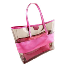 Women Summer Transparent Tote Bags Candy Colors Big Package Beach Bag for Female Jelly Bag Crystal Bag Women's Shoulder Handbag(China)