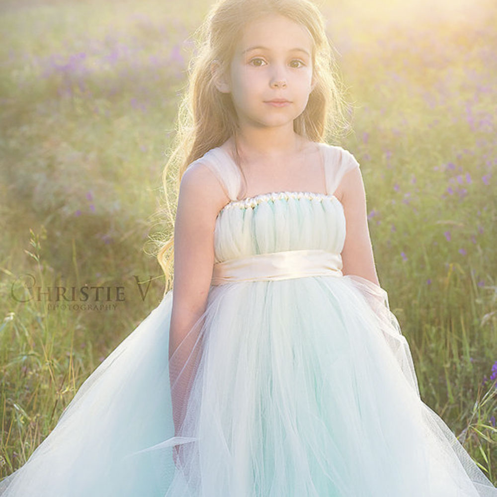 Unique Mint Green Girl Dress with Floral Sash Tulle Straps Girl Tutu Dresses Wedding Party Girl Dress Prom Evening Clothing<br>