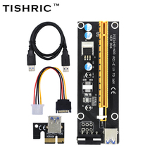 TISHRIC Black 60cm PCI-E extender PCI Express Riser Card 1x to 16x USB 3.0 SATA to 4Pin IDE Molex Power for BTC Mining Miner(China)