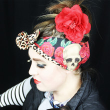 new- vintage 50s pinup rose skull leopard print hair accessories scarf bandana rockabilly hairband headband psychobilly tatto