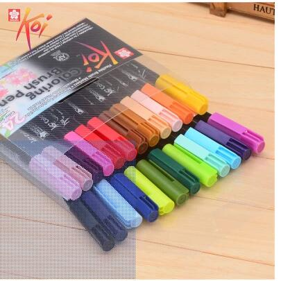 Japan SAKURA 6/ 12/ 24colors soft head aqueous marker cartoon hand-painted coloring brush pen<br><br>Aliexpress