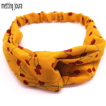 Metting Joura Summer Vintage Ethnic Yellow Flower Headband For Women & Girls Elastic Cross Hair Band Hair Accessories