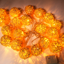 6cm/3cm rattan ball led string lights 20leds 5m christmas lights indoor decoration fairy lights wedding party decoration