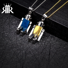 Toy Robot Stainless Steel Unique Mens Womens Necklace Pendant Transformers Robot Mini Rotatable Joints Robot Pendant Boys Teens