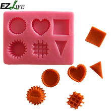 1pc Silicone Mold 6 Kinds Of Geometric Shapes DIY Fondant Molds Cake Decorating Tools Cookie Cutter Soap Mold Baking Mold EZLIFE