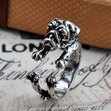 1pc Cute Pug Dog Rings Western Style Animal Adjustable Rings Men Women Lovely Anel Jewelry