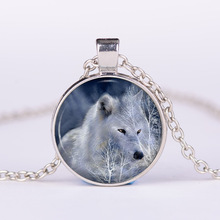 Hot! Wolf Head Necklace, Wildlife Wolf Pendant, Sliver & Bronze Necklace, Glass Cabochon Jewelry, Simple Handmade Necklace