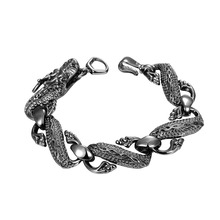 Cool Chinese Style Vintage Men's Bracelets 210*10 mm Dragon Chain Silver-Plated Wrist Band Retail & Wholesale Nice Bracelet