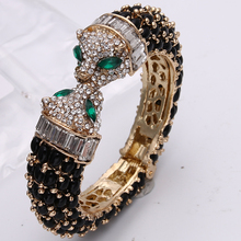 Bella Fashion Black Panther Leopard Kiss Bangles & Bracelets Austrian Crystal Rhinestone Animal Bangle Cuff For Party Jewelry(China)
