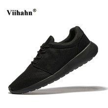 Viihahn Men Casual Shoes Spring/Summer Black Colors Flats Shoes Men Breathable Zapatillas Shoes Plus Size 40-46