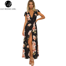 Lily Rosie Girl Women 2017 Black Deep V-neck Boho Floral Print Summer Party Maxi Dress Empire Short Sleeve Beach Dresses Vestido