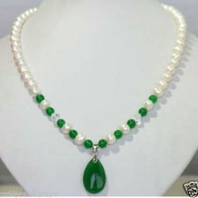 New Jewelry White Freshwater Pearl & green jades Pendant Necklace