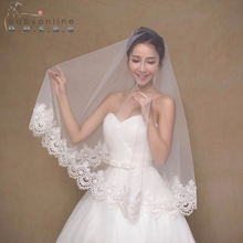 2017 Elegant Cheap Ivory/White Wedding Veil Voile Mariage Lace Bridal Veil Veu De Noiva Gorgeous Wedding Accessories