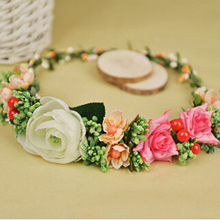 Fashion Wedding Floral Headband Floral Crown Flower Wreath Fascinator Festival Pink Purple Green Rose Flower Crown Flower Halo(China)