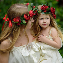 Mom and Me Flower Wreath Matching Rose Floral Crownw Headbands 2017 Summer Style  Kids Hair Bands Hair Accessories For Girls
