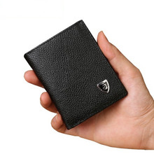 Genuine leather man short  Wallets Slim Small Size Men's Wallets Credit Card Holder bag small purse for men