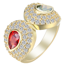 ring large fine jewellery red green unique arrow AAAA zircon promise Rings fashion jewelry Engagement Rings wholesale(China)
