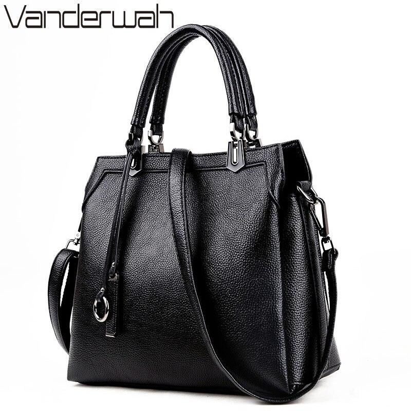 VANDERWAH Genuine Cow Leather Women Handbags Famous Brands Luxury Handbags Women Bags Designer solid Cross body Bags Tote SAC<br>