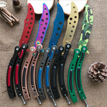 CS GO Karambit folding Knife butterfly fade colorful color game knife dull blade no edge tool practice butterfly in knife(China)