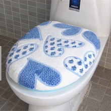 Super Soft Coral Fleece Two-pieces Toilet Pad Seat Cover Warm Clean Washable Twin Set