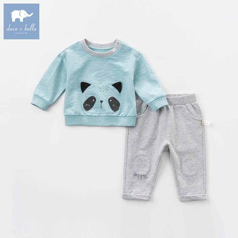 DB7386 dave bella spring baby boys clothing sets panda print toddler children suit high quality infant outfits <br>